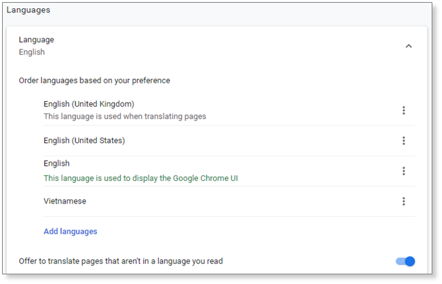 Language setting in Chrome